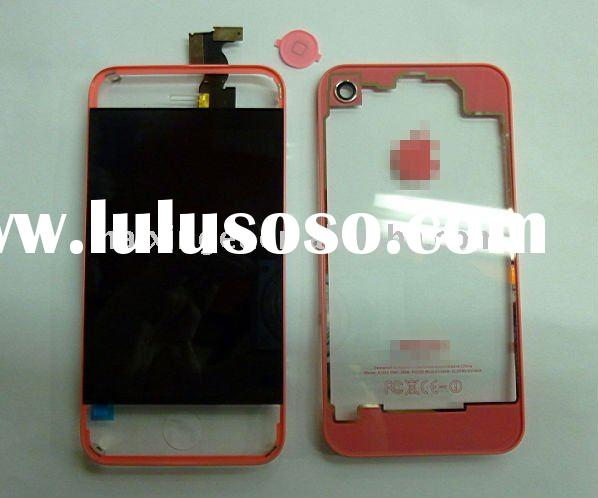 for iphone 4g CDMA verzion Transparent pink color lcd with touch screen and back panel +home button