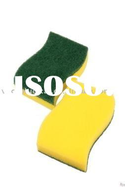 green kitchen cleaning sponge scourer and scouring pad LH-B010