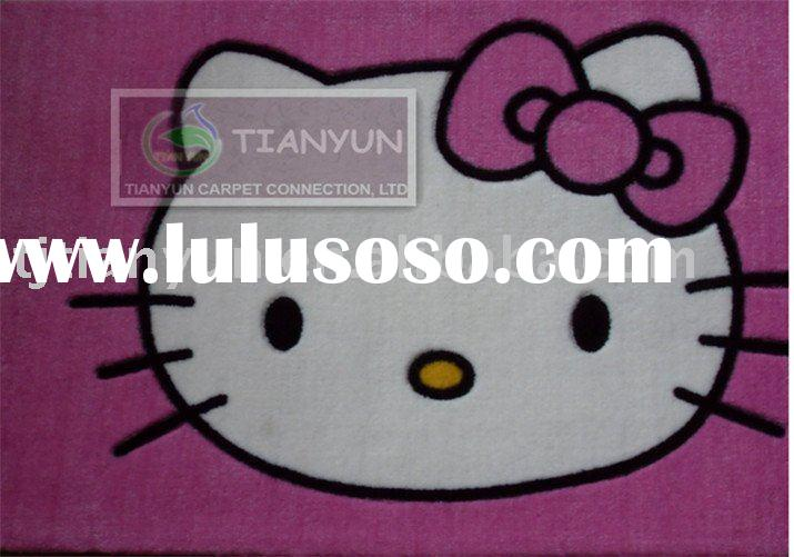 hello kitty pink color white kitty cat acrylic baby rug flower deisgns factory with cotton backing