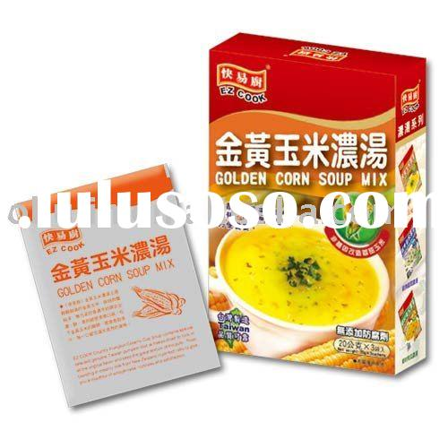 instant Corn Soup Mix powder sachet in box