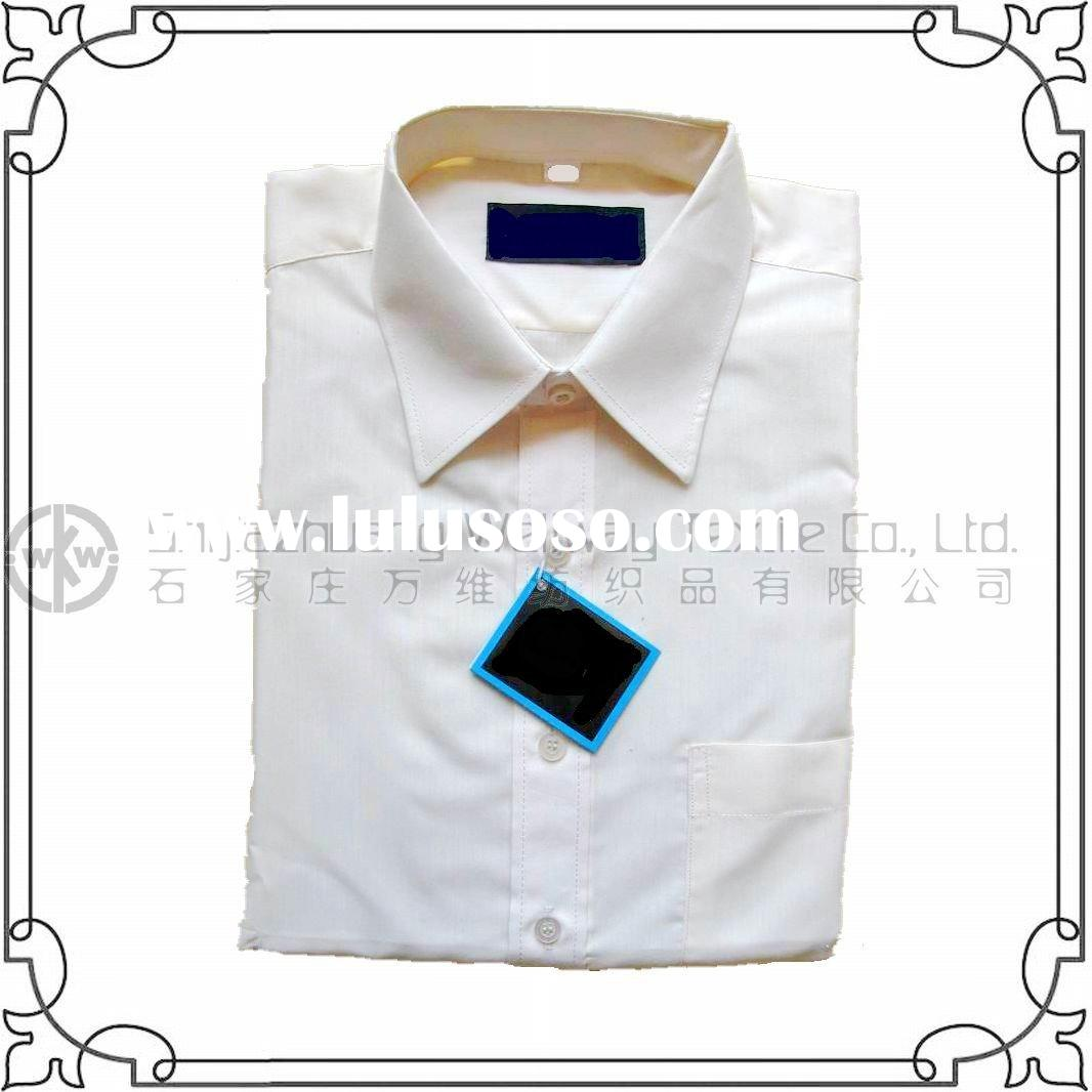 long sleeve white school uniform shirt cvc/tc/cotton fabric material