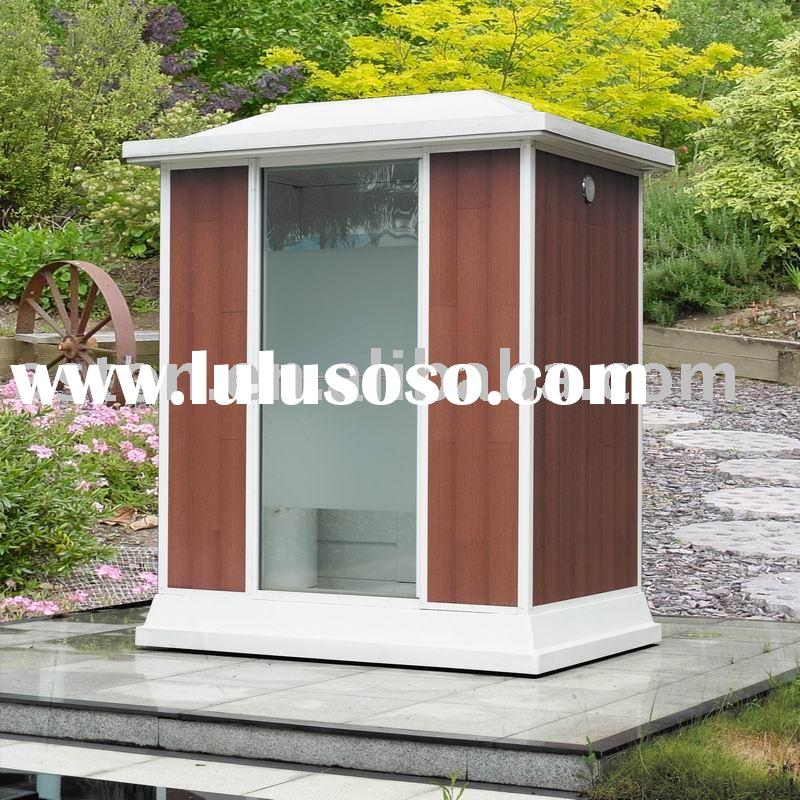 outdoor steam sauna shower room with wooden skirt