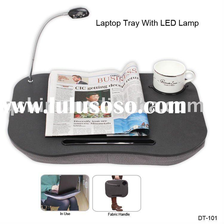portable laptop table with cushion and LED light