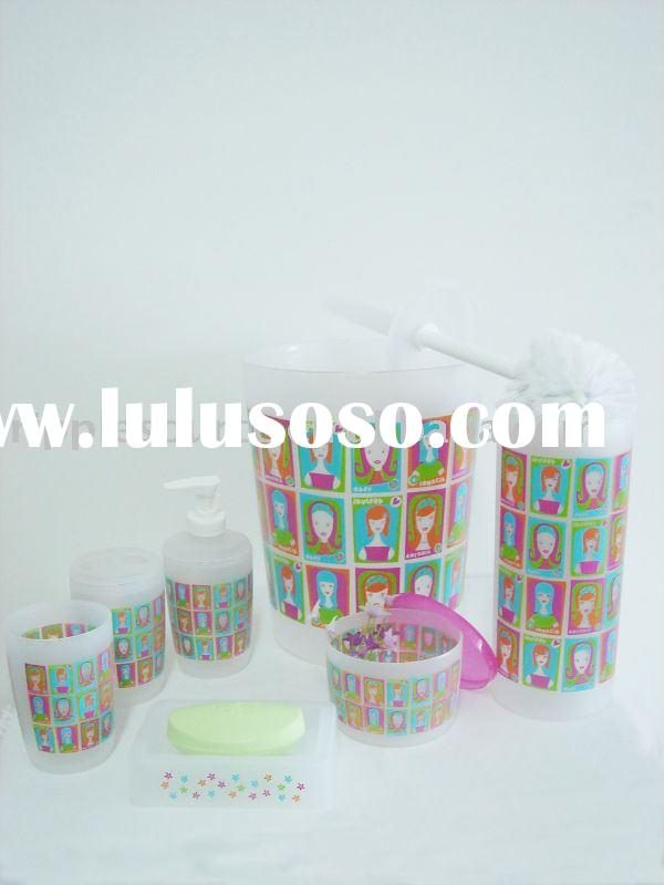 print bathroom set,bath set and accessories, PP bath accessories,dustbin, soap dish , soap dispenser
