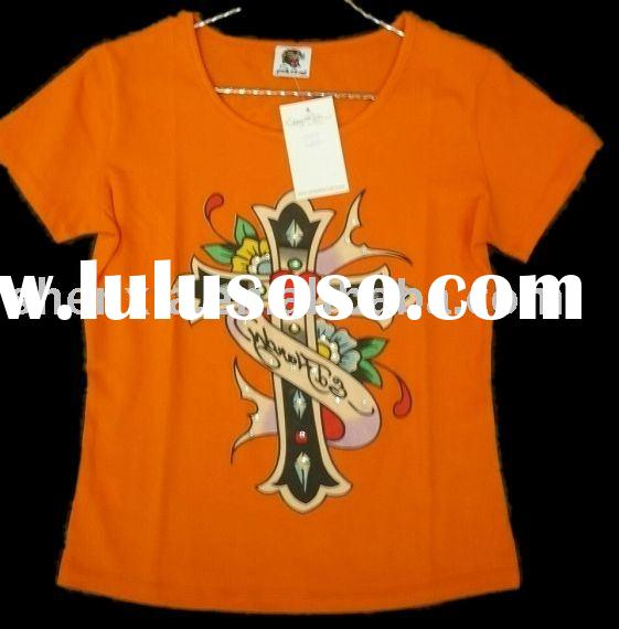 pure cotton oil printing with crystal Ladie's scoop neck Christmas t shirt