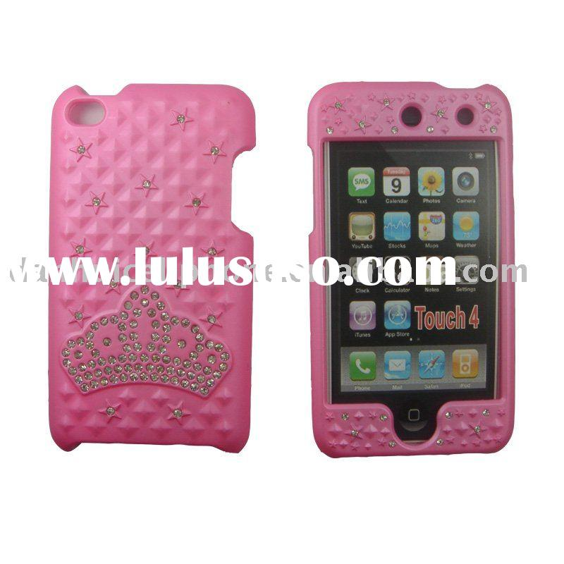 rhinestone cell phone cases for ipod touch 4 pink