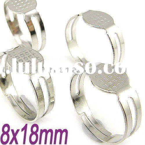 silver plated ring base blank adjustable ring with pad findings 18mm Jewelry Findings Accessories Fi