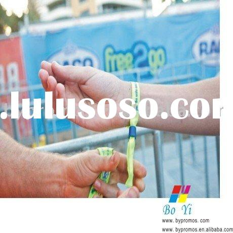 woven logo wristband with plastic slider