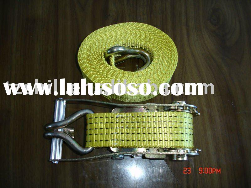yellow nylon/polyester tow rope, ratchet rope, ratchet lashing, motorcars accessories