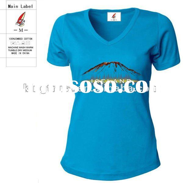 100% Cotton Women promotional plain cotton t-shirt