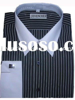 100%cotton casual stripe long sleeve shirt for men