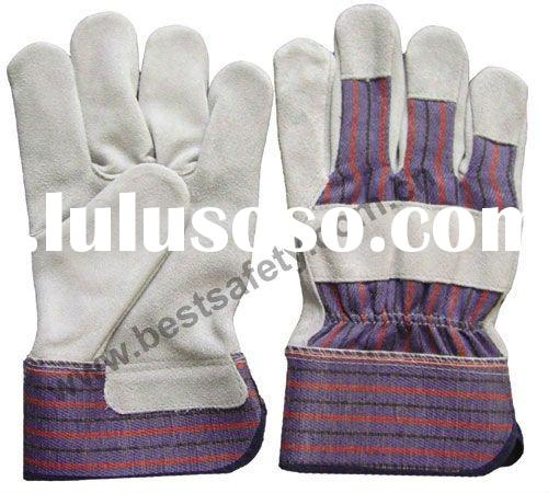 10.5 inch Cow Split Leather Full Palm Working Gloves with Rubberized Safety Cuff