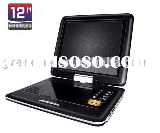 12 inch high-definition portable DVD player with 270 degree rotating screen and multi-angle viewing