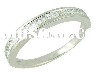 14K white gold channel setting baguette diamond band ring,fashion jewelry