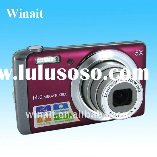 """14MP SONY CCD digital camera with 5X optical zoom and 3""""touch panel"""