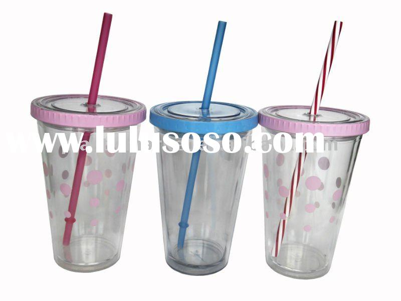 16oz/450ml promotional double wall plastic cup with straw