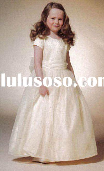 2011Hot Sales Style Flower Wedding White Girl Dress Gowns For Children Blue Color 0009