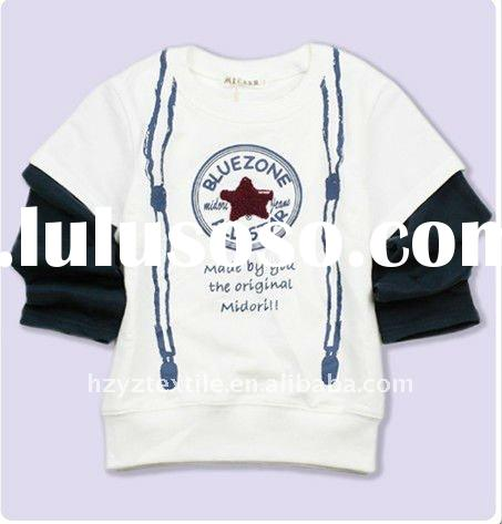 2011New style hot sale star and letters pattern long sleeves fashion t-shirt kids wear child clothin