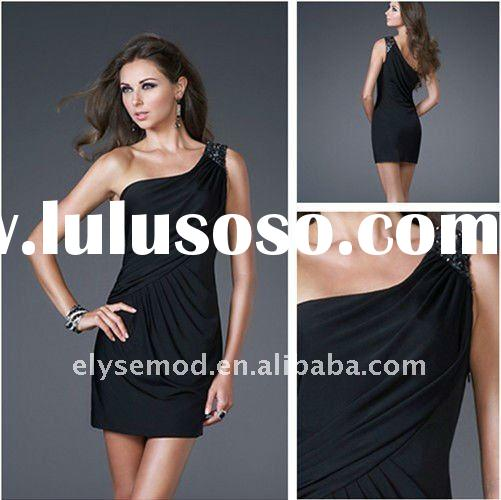2011 Christmas One Shoulder Asymmetrical Strap Black Cheap Short Homecoming Dresses