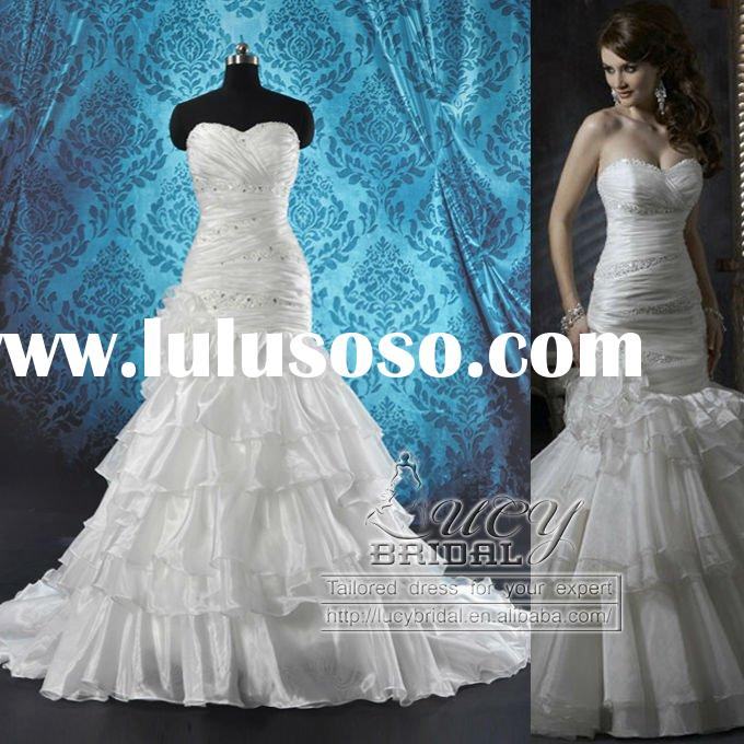 2011 Gorgeous A-line Sweetheart Rhinestone Crystal Beaded Tiered Ruffle Organza Wedding Dress Cheap