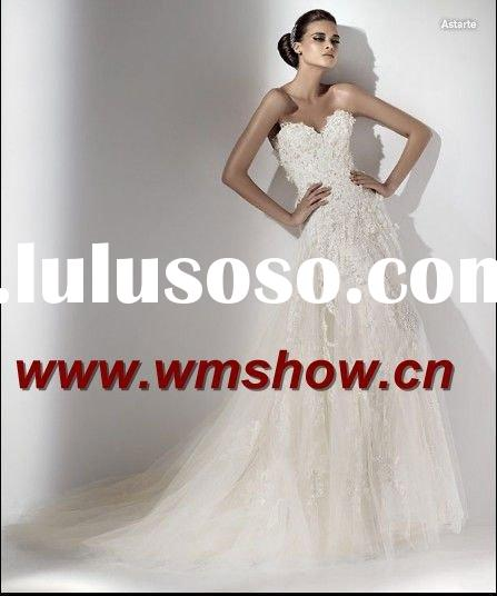 2011 Latest Design High Quality Sweetheart Appliqued Vintage Lace Wedding Dresses