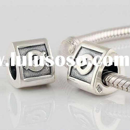 2011 New Style 925 Sterling Silver Triangle-Shaped Letter Alphabet Beads