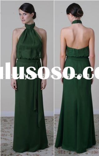 2011 New Style Halter High Neck Bare Back Low Cut A line Chiffon Evening dresses Bridesmaid Dress BD