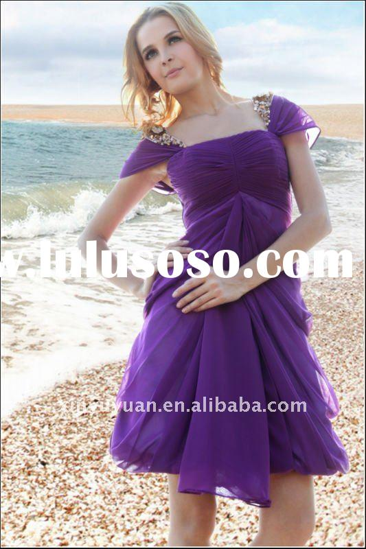 2011 New style designer cap sleeve purple chiffion pleated short evening dress homecoming dress D30-