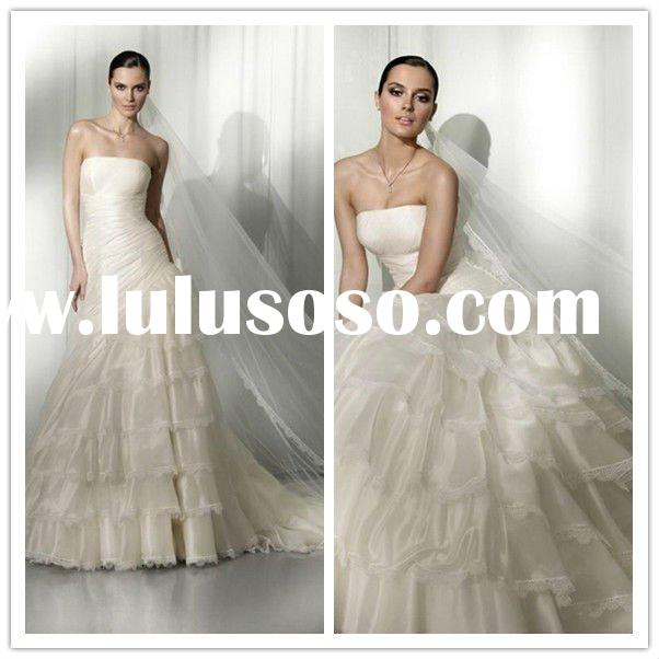 2011 Newest Style Strapless Bridal Gowns Organza A-line Pleated Applique korean wedding dress design
