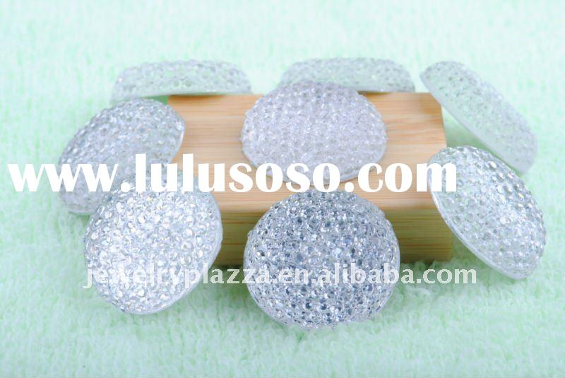 2011 fashion hot fix resin crystal,flat back loose bead with round shaped for clothes ,garment acces