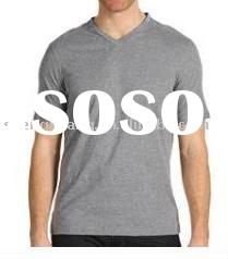 2011 mens fashion cotton V-neck plain t shirts