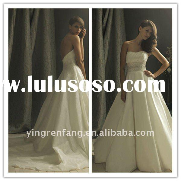 2011 new crystal strapless A-line sleeveless Chapel train tulle satin belt beaded rhinestone draped