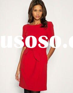 2011 newest Autumn/winter red long sleeve dress