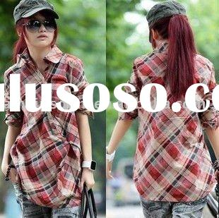 2011 newest style ladies slim casual long sleeve long checked shirt