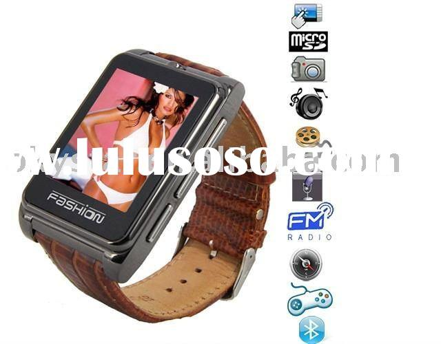 2011 popular Quad band big touch screen camera watch phone