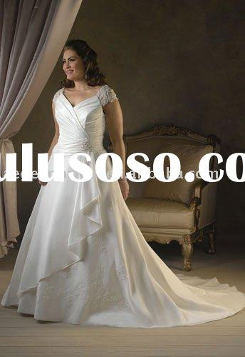 2011 wedding dress promotion/custom made a line v neck cap sleeves lace beaded taffeta plus wedding