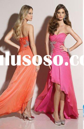 2012 Chiffon strapless beaded sweetheart front short long back prom dress YS-1444
