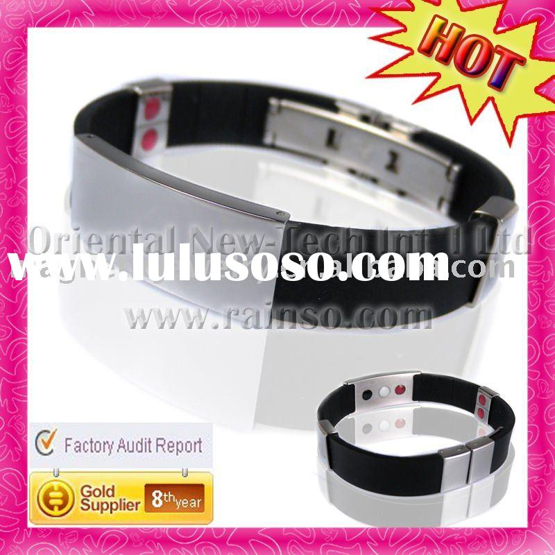 2012 Custom OEM Fashion Black Healthy Plastic Silicon Bracelet