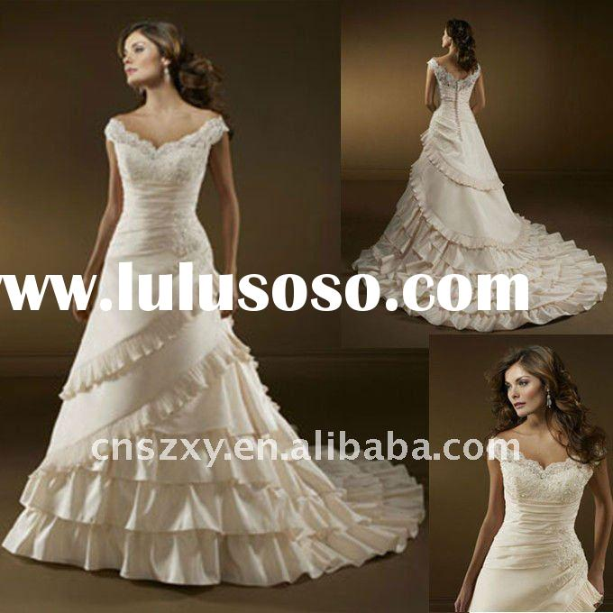 2012 Factory Hot Sell High Quality A-line Tiered Layered Ruffle Assymetrical Skirt Beaded Scalloped