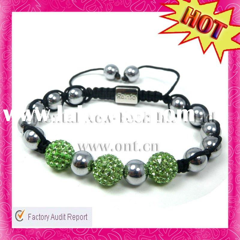 2012 Fashion Shiny New Green Crystal Ball Diamond Shamballa Bracelet