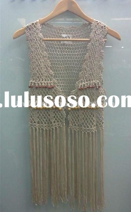 2012 Latest New Design Ladies Spring/Summer/Autumn Hand Crochet Beaded Shawl Vest