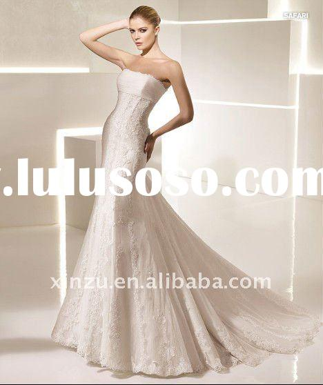 2012 Long Train Strapless Lace Mermaid Wedding Dress T-3008