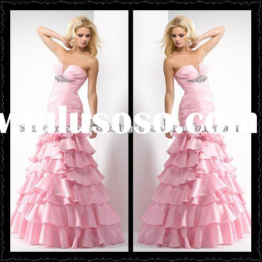2012 Lovely Pink Taffeta Mermaid High Quality Evening Dresses Bridal MSE-011