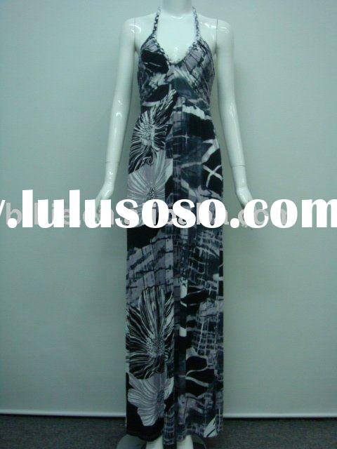2012 Newest summer western style halter floral printed long maxi dresses