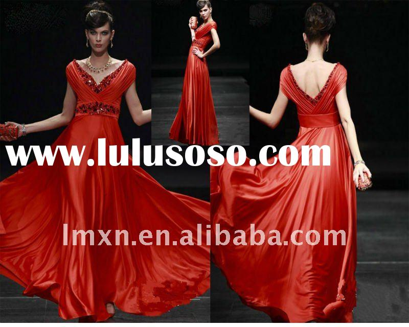 2012 Popular Red Short sleeve Floor-Length Satin Beaded Evening Dress
