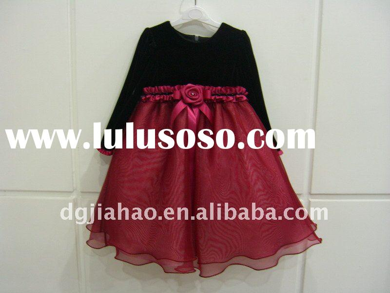 2012 fashionable black-wine bow party dress for kids