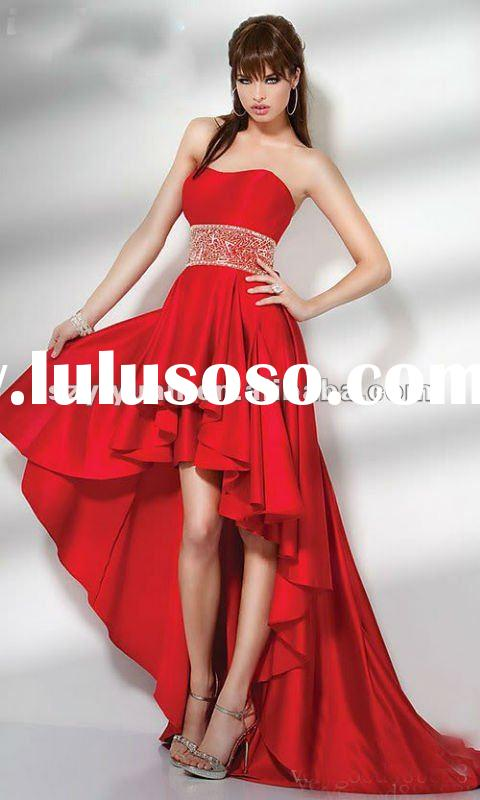 2012 latest strapless red short front long back prom dress
