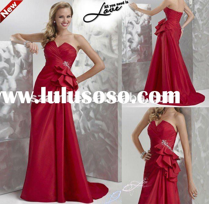 2012 new Strapless Taffeta A-line elegant charming Train long red evening dress