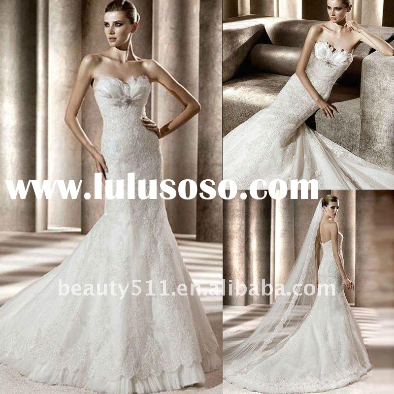 2012 strapless lace appliqued bridal wedding dresses AHA77218