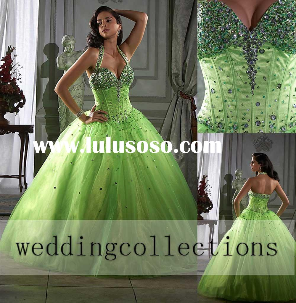 26652 Lime Green Halter Ball Gown